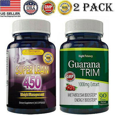 Super Lean Thermogenic Fat Burn Pills Guarana Extract 100mg Weight Loss Caps 2pk
