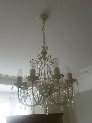 Laura Ashley Chella Cream Beaded Pendant Chandelier