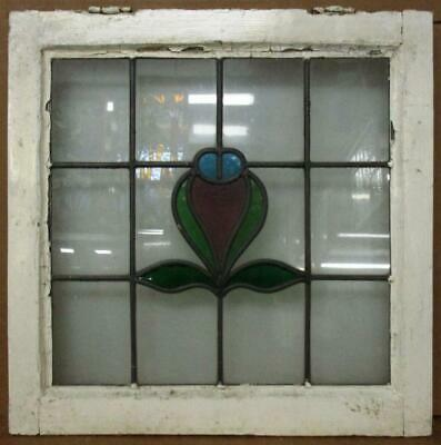 """OLD ENGLISH LEADED STAINED GLASS WINDOW Abstract Floral Design 20.25"""" x 20.25"""""""