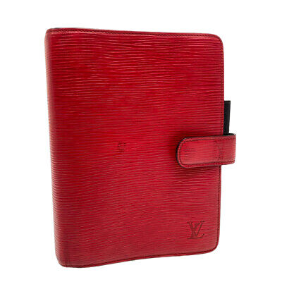 LOUIS VUITTON Epi Agenda MM Day Planner Cover Red R20047 LV Auth 14094
