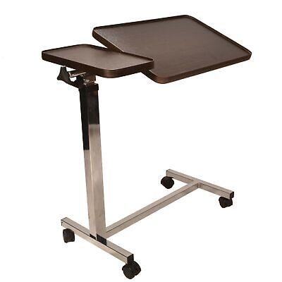 Deluxe twin top over bed table adjustable height and angle, raises with just ...