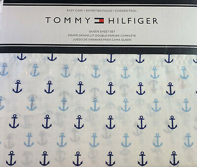 Tommy Hilfiger Nautical Queen Size Sheet Set Anchors Blue Easy Care