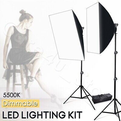 Photography Dimmable 45W LED Softbox Continuous Lighting Kit Light Stand Studio
