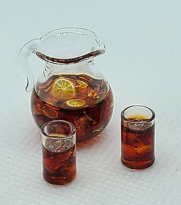 Dollhouse Miniature Water Pitcher Clear Glass Water with Handle 1:12 Scale