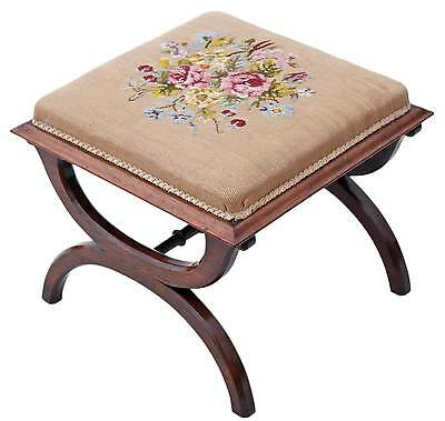 Antique rare quality Victorian rosewood x-frame stool seat foot