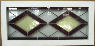 "OLD ENGLISH LEADED STAINED GLASS WINDOW TRANSOM Lovely Diamonds 29.5"" x 14.25"""