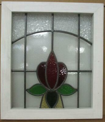 """OLD ENGLISH LEADED STAINED GLASS WINDOW Pretty Floral Arch Design 17.5"""" x 20.25"""""""