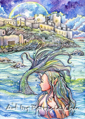 "ACEO LE Art Card Print 2.5x3.5in /"" Underwater Love /"" Mermaid Art by Patricia"