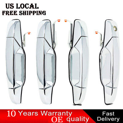 4X Chrome Outer Outside Exterior Door Handle Set of 4 Kit for Chevy Pickup Truck