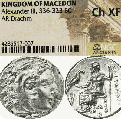 ALEXANDER the Great Lifetime NGC XF+Demeter Ancient Greek Silver Coin Herakles Z