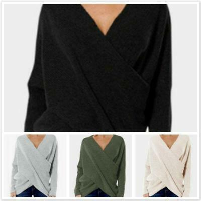 Fashion Women's Knitted Sweater Deep V-Neck Lady Spring Elegant Casual Cotton