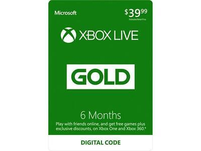 6 Months Xbox Live Gold Subscription Code for XBOX One EMAIL Microsoft Directly