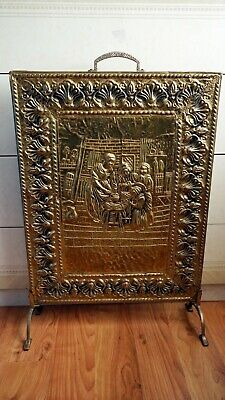 Vintage Fireplace Fire Guard Brass Copper Wood Decorated Handmade Artwork Great