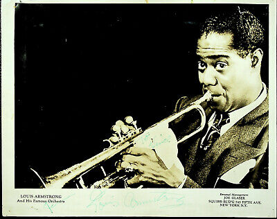 Vintage Signed Glossy 8 X 10 LOUIS ARMSTRONG Publicity Photo
