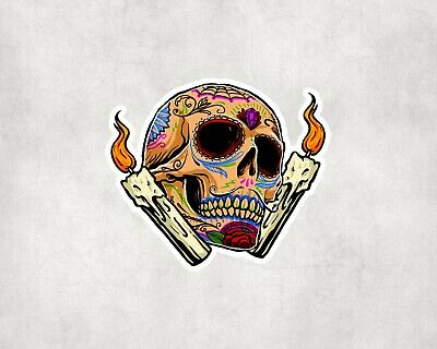 2 x Day of the Dead Skull Vinyl Stickers Travel Luggage #10261