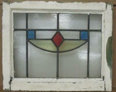 """OLD ENGLISH LEADED STAINED GLASS WINDOW Pretty Geometric Design 21.5"""" x 17.5"""""""