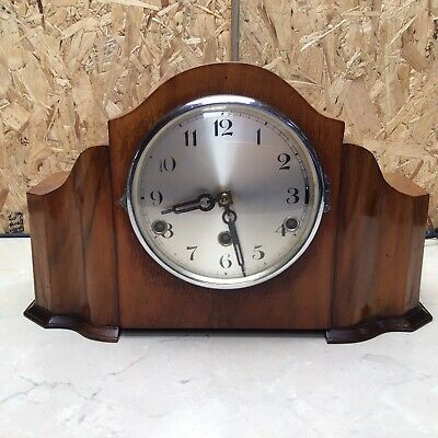 Art Deco Westminster Chime Walnut Mantle Clock