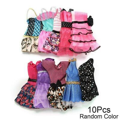 10 Pcs Dresses for Doll Fashion Party Girl Dresses Clothes Gown Toy Gift.