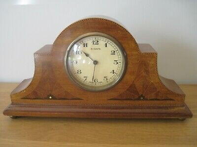 Vintage 8 Day Wooden Art Deco Style Inlaid Mantle Clock