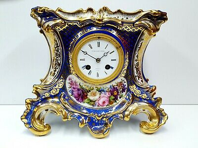 Antique hand painted porcelain French Clock Rococo Revival Style