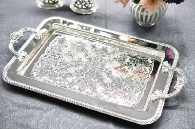 Vintage Silver Plated Rectangle Tray With Handles  - Gift SALE