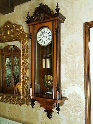 Antique 2 weight striking Vienna regulator wall Clock. Walnut case