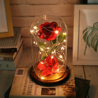 Beauty And The Beast Enchanted Rose Glass Dome LED Lighted Wedding Decor Gift