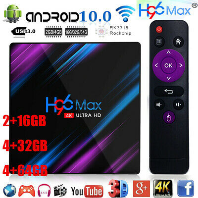 H96 Max Android 10.0 Smart TV Box 64G Quad Core 4K HD 2.4G/5G Wi-Fi Mediaplayer