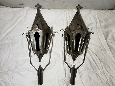 17th Century Medieval Portugal Church Lanterns Hand Made Tin Rustic Antique