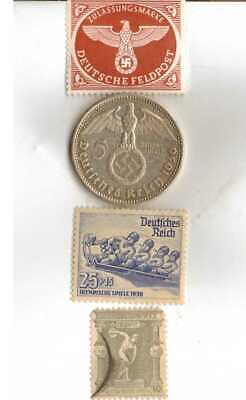 #-2)-*GREECE-1896+1936-*German Olympic stamps+SILVER coin(.900%)+*us-1936-Nickel