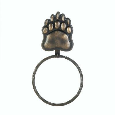"""4 Country Woods Style Bear Paw Inspired Large Iron Wall Towel Ring 12.2"""" long"""