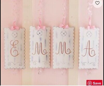 """Pottery Barn Kids Victorian Tin Hanging Wall Letters """"B"""" & """"G"""""""
