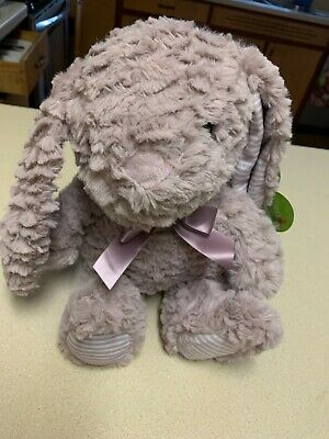 """Happy Go Fluffy Bunny Rabbit Plush Curly Pastel Lavender Pinstriped Ears 12"""" New"""