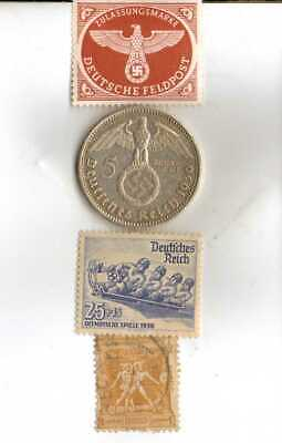 #-8)-1936-*german+1896-*greek Olympic stamps+SILVER coin+*us-1936-Buffalo Nickel