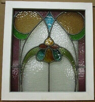 """MIDSIZE OLD ENGLISH LEADED STAINED GLASS WINDOW Abstract Floral 20.75"""" x 22.75"""""""