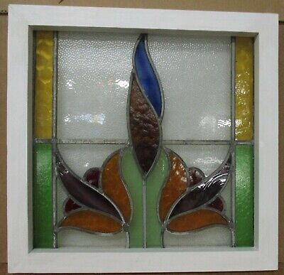 """OLD ENGLISH LEADED STAINED GLASS WINDOW Colorful Floral Design 20.25"""" x 19.75"""""""