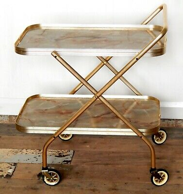 Vintage Retro Folding Gold Cocktail Drinks Tea Hostess Trolley Marble Effect