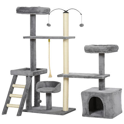 PawHut Plush Cat Tree Tower Activity Center with Sisal Scratching Posts Condo