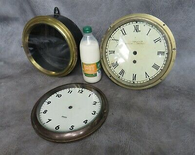 Two Good Quality Ships Brass Clock Cases And A Bronze Gents Slave Clock Front