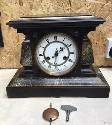 Junghans Faux Marble Mantle Clock For Restoration