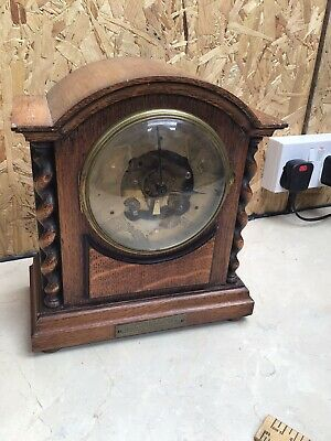 Art Deco Barley Twist 1930s French Mantle Clock For Restoration