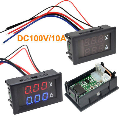 DC 0-100V 10A 3/4 Bit Voltmeter Ammeter Red Blue LED Amp Wires New_shHH