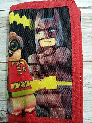 Batman and Robin Lego Movie Trifold Nylon Wallet Red great condition!