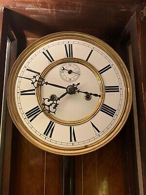 """Gustav Becker 46"""" Tall  Double Weighted Vienna Clock Keeps Perfect Time"""