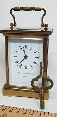 Vintage 8-day Matthew Norman Brass Carriage Clock With Key