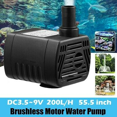 DC3.5-9V 3W Brushless DC Submersible Water Pump USB Fountain Fish Tank Pump EH