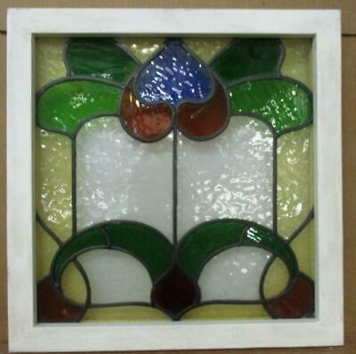 """OLD ENGLISH LEADED STAINED GLASS WINDOW Very Colorful Floral Design 19.75"""" 20"""""""