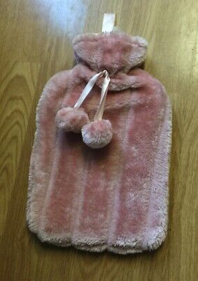 New Unused Fluffy Pink Hot Water Bottle With Hook & 2 Pom Poms