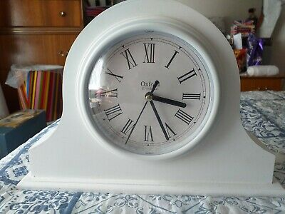 "Oxford Clock Co. White Mantle Clock. Shabby Chic. Works Perfect 11.5"" by 8"""