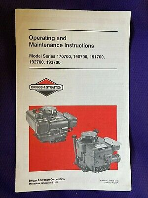 Briggs&Stratton Operating and Maintenance Instr-Model Series170700/190700/1917..
